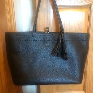Tory Burch McGraw Pebbled Leather Tote Handbag